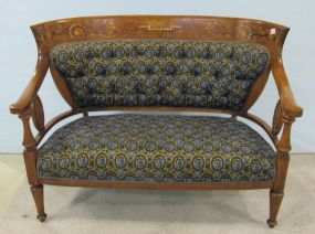 Inlaid Sette with Tufted Back and Upholstered Seat