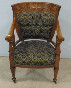 Inlaid Arm Chair with Tufted Back and Upholstered Seat