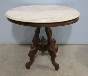 Marble Top Walnut Table