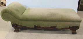 English Deco Style Lounger in Faded Green Upholstery