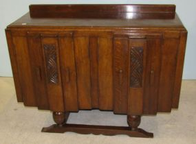 Oak Art Deco Server with Four Cabinets and Two Interior Drawers