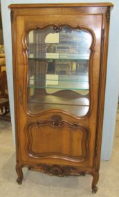 Country French Curio Cabinet Vitrine with Single Door, Interior Glass Shelves and Mirror Back
