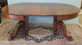 Mahogany Clawfoot Dining Table with Two Leaves