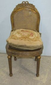 Gilt French Style Cane Back and Seat Chair with Aubusson Cushion