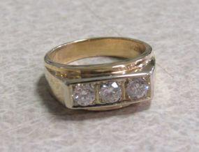 Gentleman's Three Diamond 14K Yellow Gold Ring