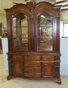 China Cabinet with Decorative Glass Doors, Six Drawers and Two Lower Doors