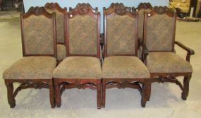 Set of Eight Dining Chairs with Upholstered Back and Seats