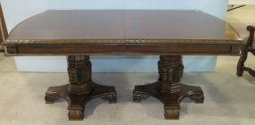 Double Pedestal Banded Dining Table with Two Leaves