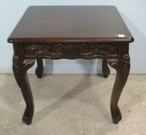 Side Table with Carved Skirt and Legs