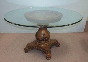 Wooden Single Pedestal Base Glass Top Table