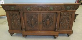 Beautiful Ornate Carved Oak Sideboard