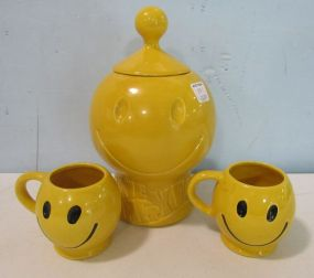 Vintage McCoy Smiley Face Cookie Jar and Cups
