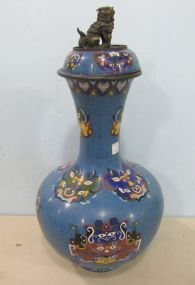 Chinese Cloisonne Foo Dog Palace Vase