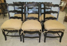 Six Cane Bottom Side Black Chairs