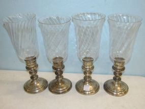 Four Gorham Sterling Hurricane Candle Holders
