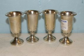 Four Sterling Cordial Goblets