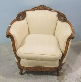 French Style Ornate Carved Parlor Chair