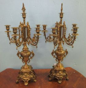 Pair of Ornate Brass Candelabras