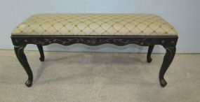 Bombay Co. Painted Black with Gold Design Window Bench