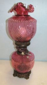 Signed Cranberry Fenton Glass Lamp