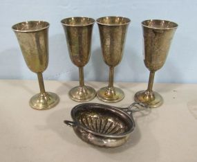 Four International Sterling Cordials and Sterling Drainer