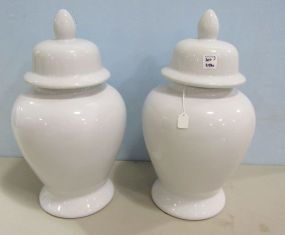 Two White Ceramic Temple Jars