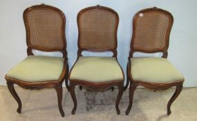 Three French Style Cane Back chairs