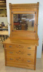 Vintage Three Drawer Oak Dresser