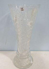 Large Etched Glass Centerpiece Vase
