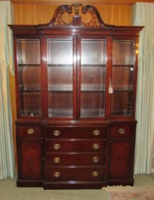 Mahogany Break Front Secretary  China Cabinet