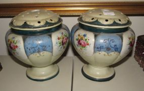Pair of Kinjo Nippon Hand Painted Potpourri Jar