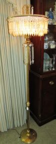 Vintage Brass Crystal Prism Spear Waterfall Floor Lamp