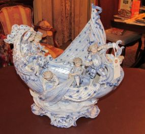 Dresden Style Porcelain Boat with Family Scene