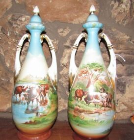 Antique Austria Hand Painted Cattle Scene Vases