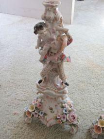 Meissen Style Figural Porcelain Candlesticks