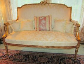Ornate Vintage Louis XV Style Gold Painted Parlor Settee
