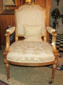 Ornate Vintage Louis XV Style Gold Painted Parlor Chair