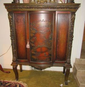 Antique Ornate Carved One Door Display Cabinet