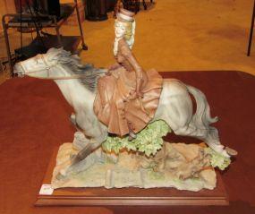 A. Belcari Capidomente Lady Riding Horse Statue