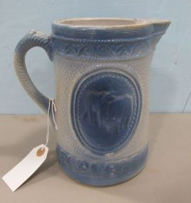Clay City Blue & White Stoneware Cow Pitcher