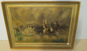 Antique Native American and Stagecoach Painting on Tin