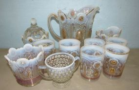 Vintage Opalescent Carnival Pitcher and Glass Set