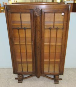 1907 English Walnut Art Nouveau Display Cabinet