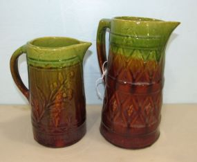 Two Brown and Green Graduated Glaze Stoneware Pitchers