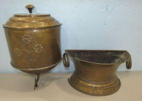 Mid Century Embossed Italian Brass 3 Piece Lavabo