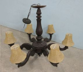 Antique Style Wood Six Arm Chandelier