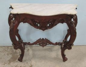 Reproduction Marble Top Demi Lune Console