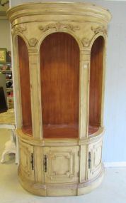 Distressed Painted Demi Lune Curio Cabinet