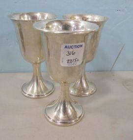 Three Newport Sterling Mini Goblets