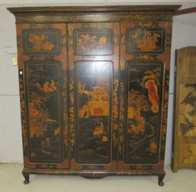 Vintage Chinoiserie Painted Wardrobe